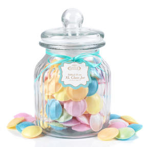 Giles & Posner QCJ186675 Extra Large Ribbed Glass Candy Jar, Set of Four Thumbnail 4