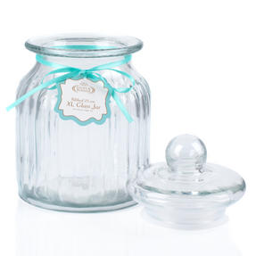 Giles & Posner QCJ186675 Extra Large Ribbed Glass Candy Jar, Set of Four Thumbnail 5