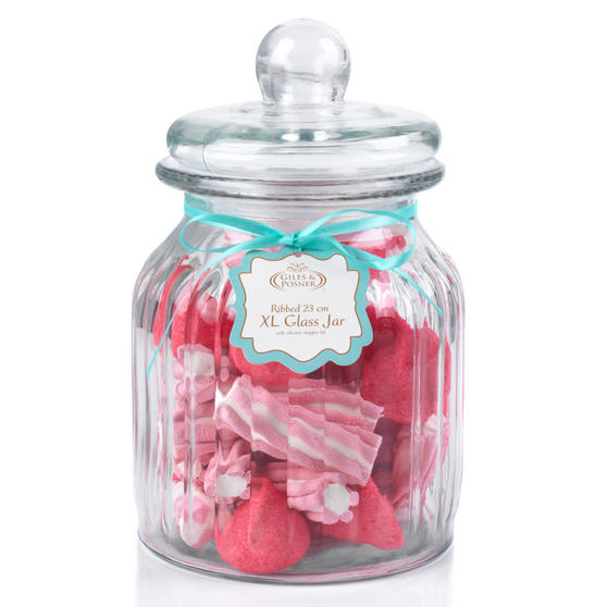 Giles & Posner QCJ186675 Extra Large Ribbed Glass Candy Jar, Set of Six