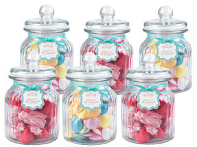 Giles & Posner QCJ186675 Extra Large Ribbed Glass Candy Jar Set of 6