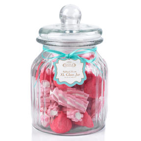 Giles & Posner QCJ186675 Extra Large Ribbed Glass Candy Jar, Set of Eight Thumbnail 1