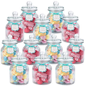 Giles & Posner QCJ186675 Extra Large Ribbed Glass Candy Jar Set of 12
