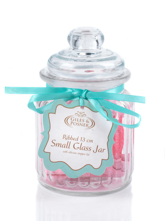 Giles & Posner QCJ186750 Small Ribbed Glass Candy Jar