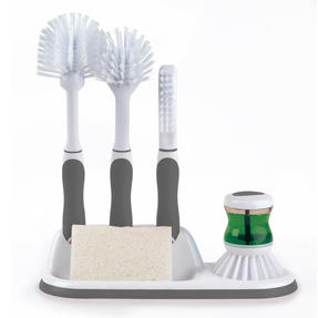 Beldray Collapsible Dish Draining Board and 4-Piece Kitchen Scrubbing Brush Set, Grey Thumbnail 4