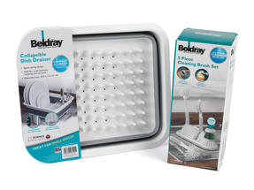 Beldray Collapsible Dish Draining Board and 4-Piece Kitchen Scrubbing Brush Set, Grey Thumbnail 5