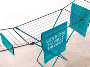 Beldray 18 Metre Clothes Airer and Beldray Hip Hugger Laundry Basket Set, Turquoise Thumbnail 5