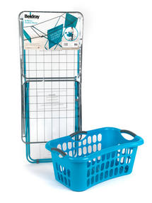 Beldray 18 Metre Clothes Airer and Beldray Hip Hugger Laundry Basket Set, Turquoise Thumbnail 7