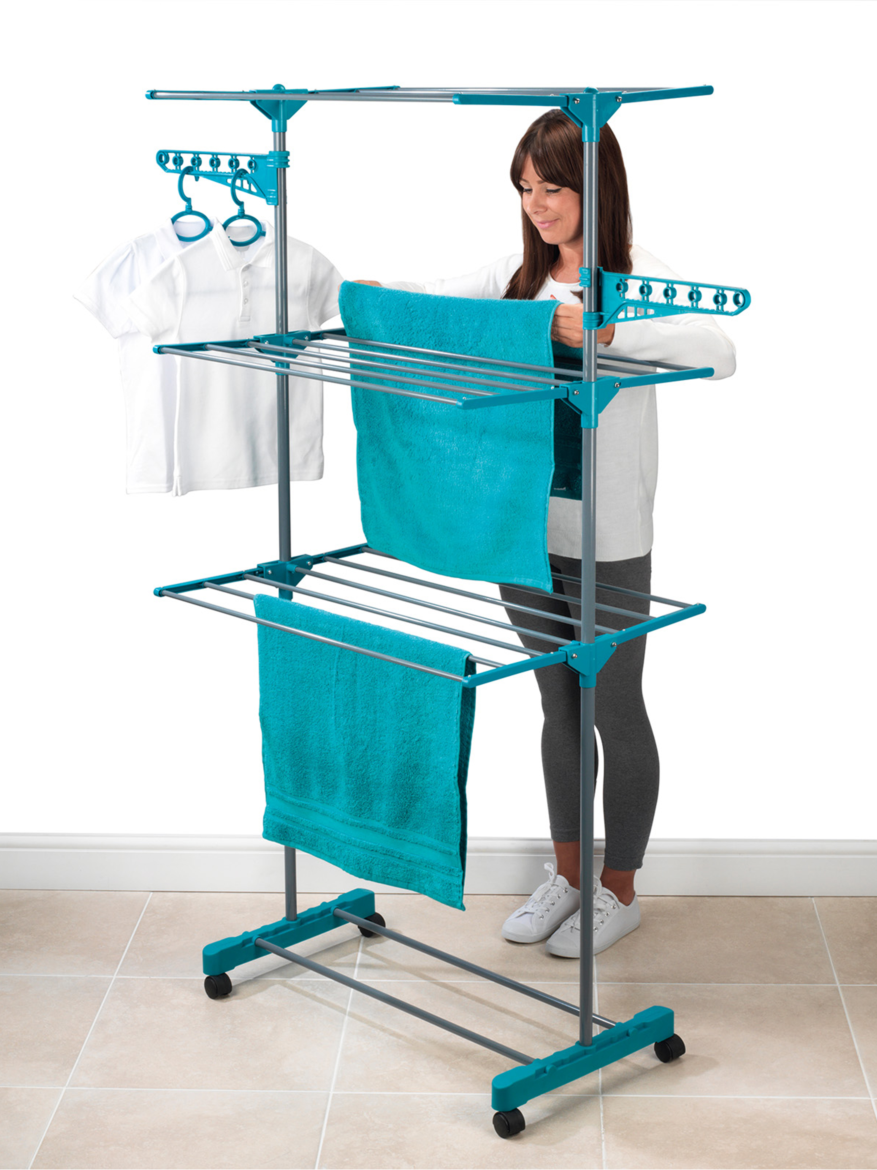 Beldray 3-Tier Deluxe Clothes Airer and Laundry Basket Set | Beldray