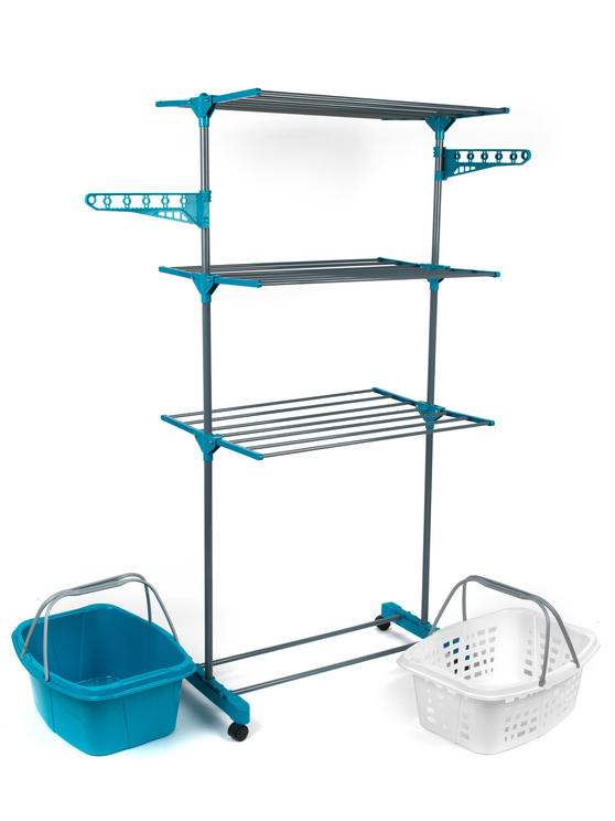 Beldray 3-Tier Deluxe Clothes Airer and Laundry Basket Set