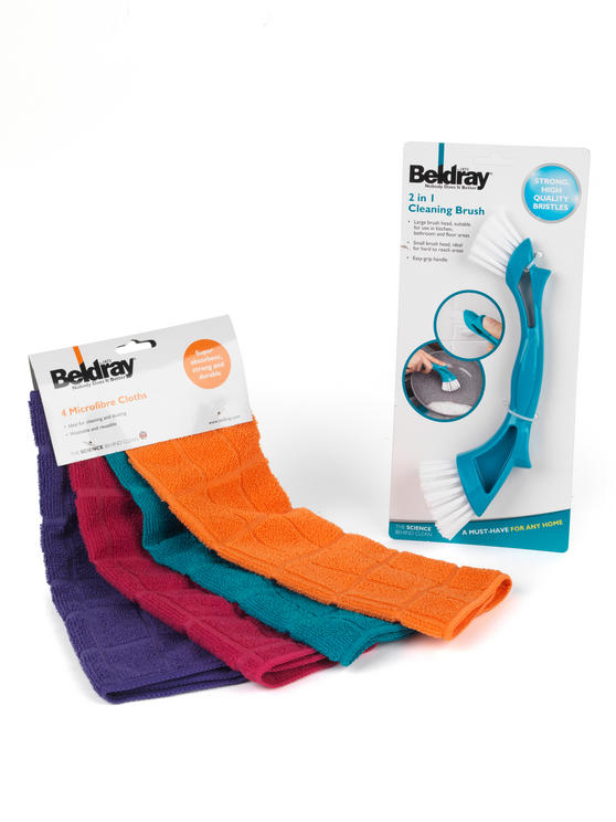 Beldray Mini Cleaning Brush and 4-Pack of Microfibre Cloths Thumbnail 2