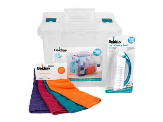 Beldray Large Clear Caddy, 2-in-1 Cleaning Brush and 4-Pack of Microfibre Cloths Cleaning Set