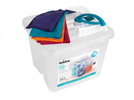 Beldray Large Clear Caddy, 2-in-1 Cleaning Brush and 4-Pack of Microfibre Cloths Cleaning Set Thumbnail 2