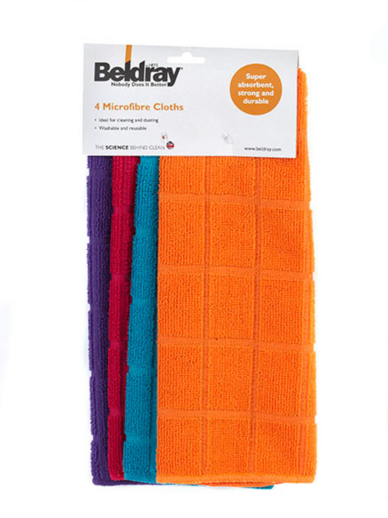 Beldray Large Clear Caddy, 2-in-1 Cleaning Brush and 4-Pack of Microfibre Cloths Cleaning Set Thumbnail 7