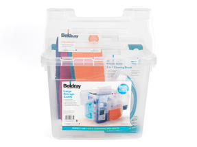 Beldray Large Clear Caddy, 2-in-1 Cleaning Brush and 4-Pack of Microfibre Cloths Cleaning Set Thumbnail 3