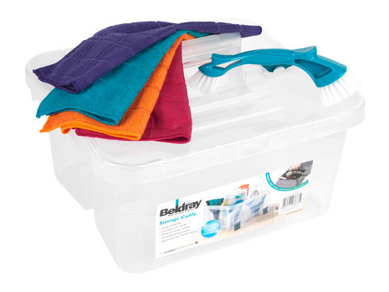 Beldray Small Clear Caddy, Mini Cleaning Brush and 4-Pack of Microfibre Cloths Cleaning Set Thumbnail 2