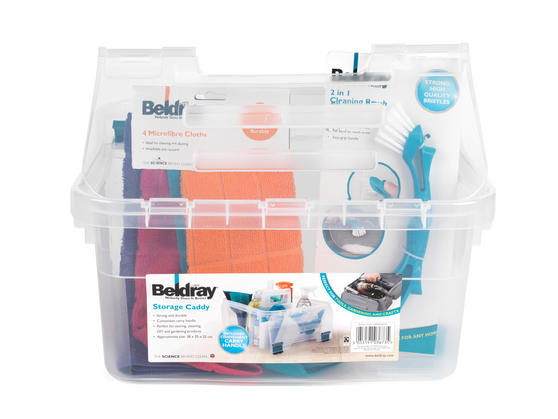 Beldray Small Clear Caddy, Mini Cleaning Brush and 4-Pack of Microfibre Cloths Cleaning Set Thumbnail 3