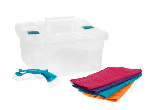 Beldray Small Clear Caddy, Mini Cleaning Brush and 4-Pack of Microfibre Cloths Cleaning Set Thumbnail 4