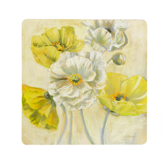 Inspire BCH269393 Luxury Golden Poppy Placemats, 29 x 29cm, Hardboard, Set of 4