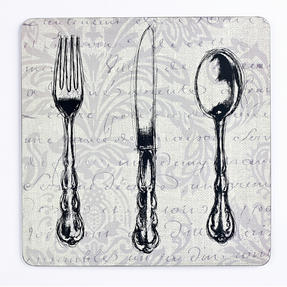 Inspire BCH249296 Luxury Vintage Cutlery Placemats, 29 x 29cm, Hardboard, Set of 4