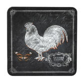 Inspire BCH281654 Luxury Chalkboard Rooster Coasters, 10.5 x 10.5cm, Hardboard, Black, Set of 4