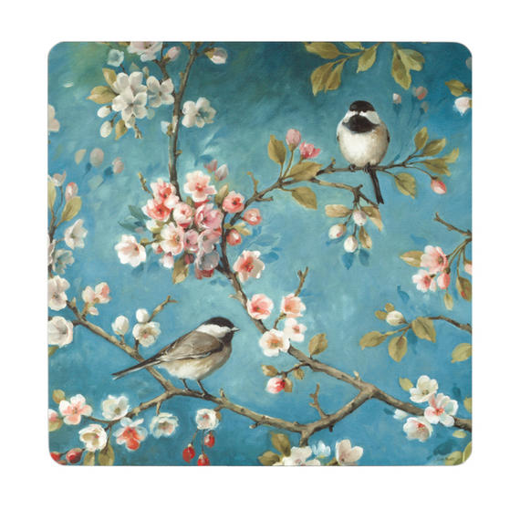 Inspire BCH281876 Luxury Spring Blossom Placemats, 29 x 29cm, Hardboard, Blue/Pink, Set of 4