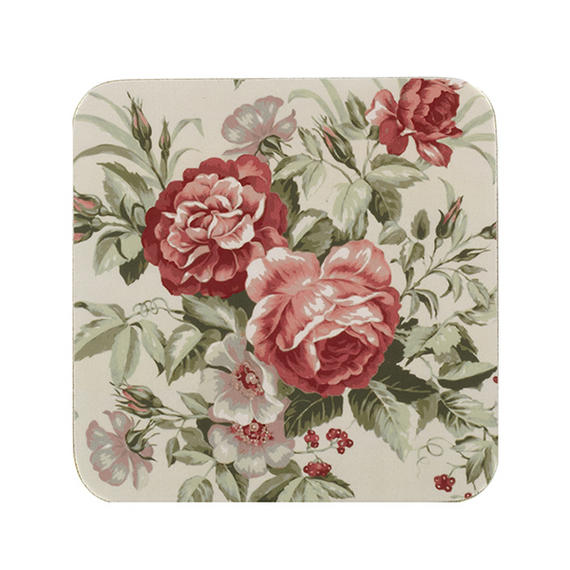 Indulje CA278135 Luxury Rosabella Coasters, 10 x 10cm, Hardboard, Floral, Set of 4