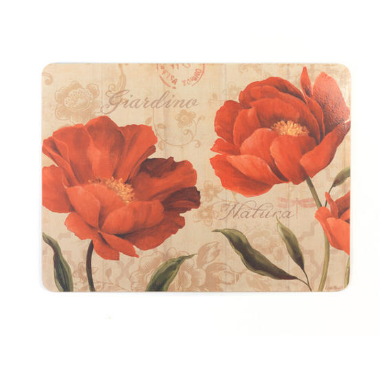 Indulje CA278692 Luxury Giardino Placemats, 29 x 21.9cm, Hardboard, Floral, Set of 4