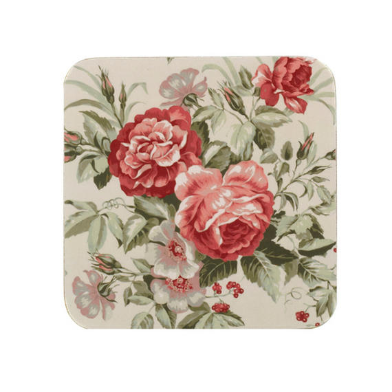 Indulje TW283498 Luxury Rosabella Coasters, 10 x 10cm, Hardboard, Pink/Green, Set of 4