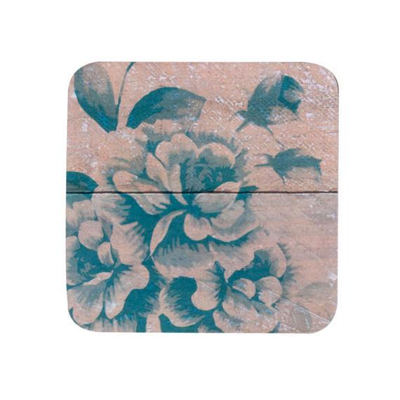 Indulje TW283535 Luxury Vintage Chatsworth Rose Coasters, 10 x 10cm, Hardboard, Blue, Set of 4
