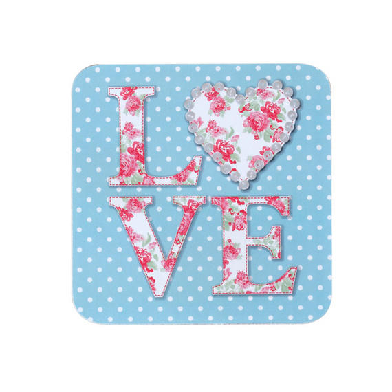 Indulje TW283610 Luxury Love Patchwork Coasters, 10 x 10cm, Hardboard, Pink/Blue, Set of 4