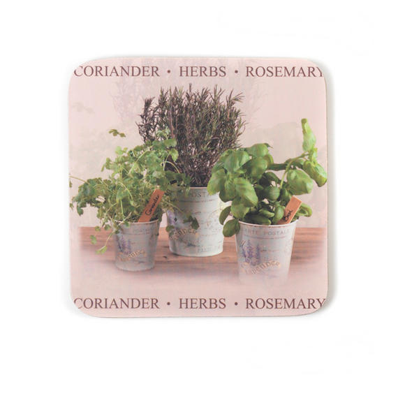 Indulje TW283733 Luxury Herbs Coasters, 10 x 10cm, Hardboard, Natural/Green, Set of 4