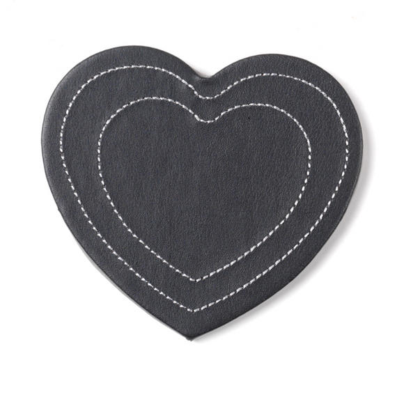 Inspire HY279194 Luxury Stitched Heart Coasters, 11 x 9cm, Faux Leather, Black, Set of 4