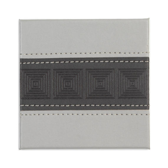 Indulje HY283290 Luxury Embossed Mosaic Coasters, 10 x 10cm, Faux Leather, Charcoal, Set of 4