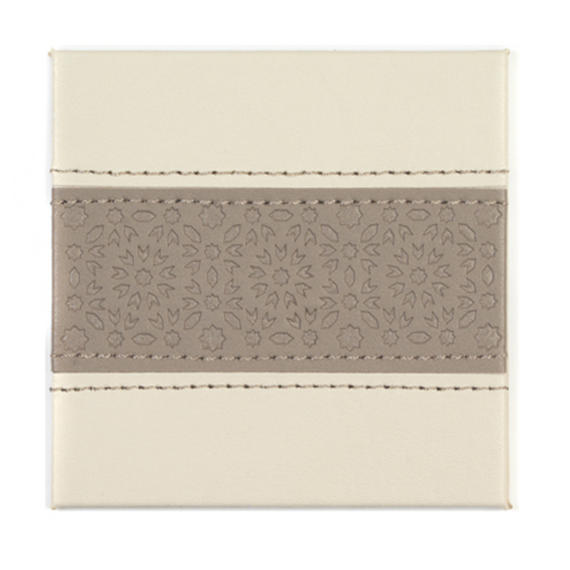 Indulje HY283337 Luxury Embossed Tile Mosaic Coasters, 10 x 10cm, Faux Leather, Cream, Set of 4