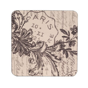Inspire TW290373 Luxury Amelie Coasters, 10 x 10cm, Hardboard, Natural, Set of 4