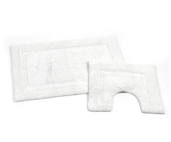 Beldray LA038999 2 Piece Latex Backed Embossed White Bathroom Mat Set