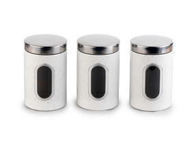 Salter Marble Collection Countertop Set, Mug Tree and 3 Piece Canister Set, White Thumbnail 2