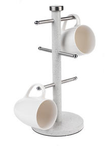Salter Marble Collection Countertop Set, Mug Tree and 3 Piece Canister Set, White Thumbnail 5