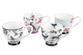 Portobello Sandringham Birds Footed Bone China Mugs, Mixed Set of 4