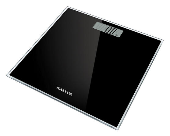 Salter Glass Electronic Digital Bathroom Scale, Black