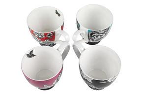 Portobello Sandringham Shaded Flowers Footed Bone China Mugs, Mixed Set of 4 Thumbnail 2