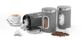 Salter Marble Collection Complete Countertop Set, Window Bread Bin, Paper Towel Holder, Mug Tree, Canister Set, Grey Thumbnail 5