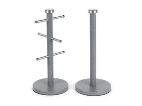 Salter Marble Collection 2 Piece Countertop Set, Mug Tree and Paper Towel Holder, Grey Thumbnail 1