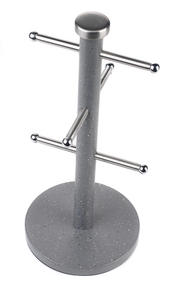 Salter Marble Collection 2 Piece Countertop Set, Mug Tree and Paper Towel Holder, Grey Thumbnail 2