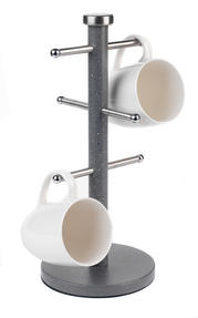 Salter Marble Collection 2 Piece Countertop Set, Mug Tree and Paper Towel Holder, Grey Thumbnail 5