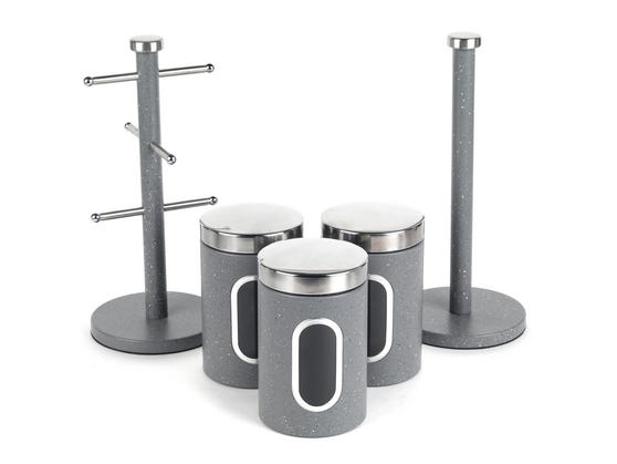Salter Marble Collection Countertop Set, Mug Tree, Paper Towel Holder, 3 Piece Canister Set, Grey