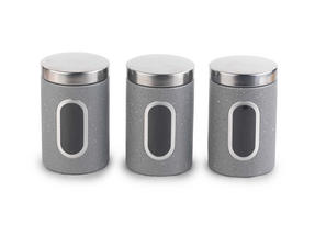 Salter Marble Collection Countertop Set, Mug Tree, Paper Towel Holder, 3 Piece Canister Set, Grey Thumbnail 2