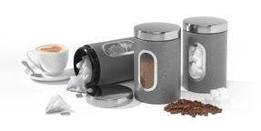 Salter Marble Collection Countertop Set, Mug Tree and 3 Piece Canister Set, Grey Thumbnail 4