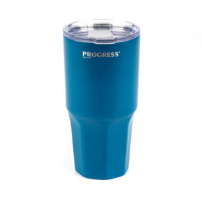 Progress BW05854B Thermal Insulated Travel Cup Dipped Tumbler with Lid, 550 ml, Stainless Steel, Blue Thumbnail 2