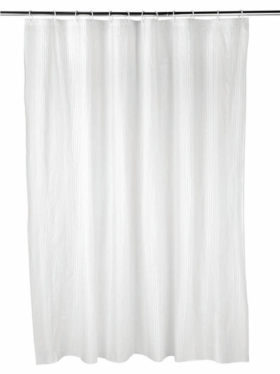 Beldray Boston Striped Shower Curtain with Hooks, 180 x 180cm, PEVA, White